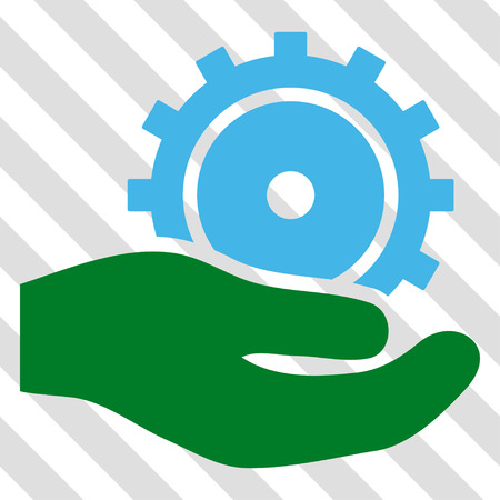 Development Service vector icon. Image style is a flat blue and green iconic symbol on a hatched diagonal transparent background.