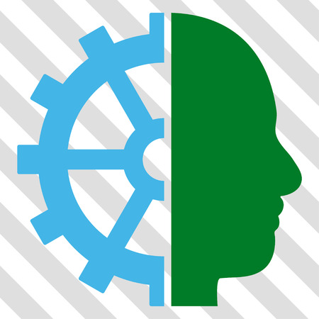 robo: Cyborg Gear vector icon. Image style is a flat blue and green iconic symbol on a hatched diagonal transparent background.