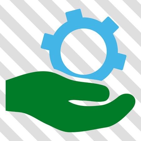 Engineering Service vector icon. Image style is a flat blue and green pictograph symbol on a hatched diagonal transparent background.