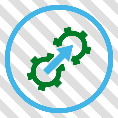Gear Integration vector icon. Image style is a flat blue and green pictograph symbol on a hatched diagonal transparent background. Illustration