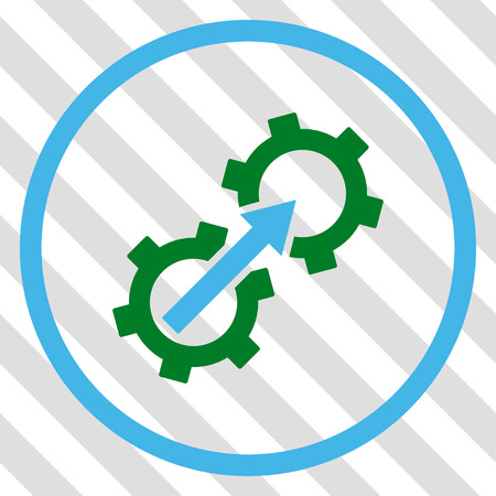Gear Integration vector icon. Image style is a flat blue and green pictogram symbol on a hatched diagonal transparent background.