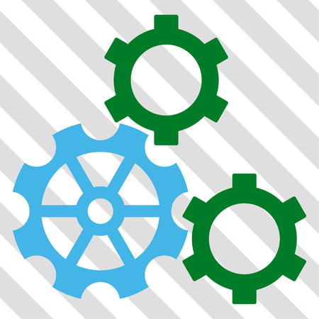 Gears vector icon. Image style is a flat blue and green pictograph symbol on a hatched diagonal transparent background.