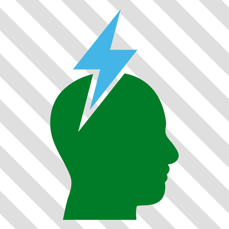 headaches: Headache vector icon. Image style is a flat blue and green pictograph symbol on a hatched diagonal transparent background.