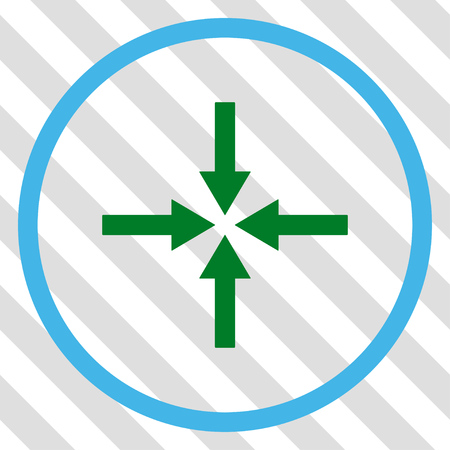 impact: Impact Arrows vector icon. Image style is a flat blue and green iconic symbol on a hatched diagonal transparent background. Illustration