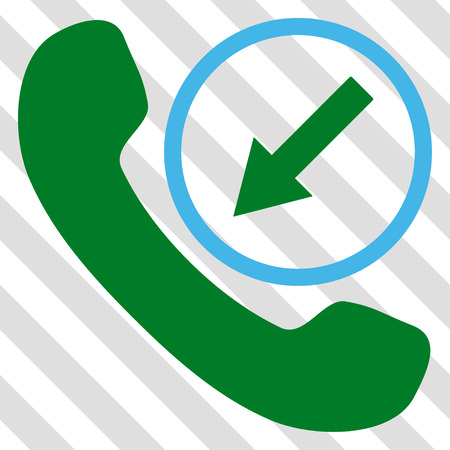 Incoming Call vector icon. Image style is a flat blue and green pictograph symbol on a hatched diagonal transparent background. Illustration