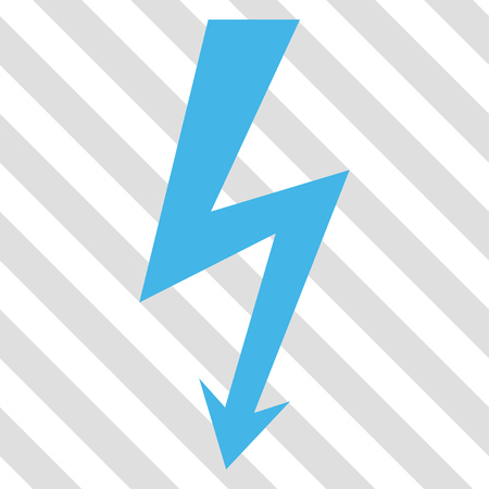 high voltage: High Voltage vector icon. Image style is a flat blue and green icon symbol on a hatched diagonal transparent background.