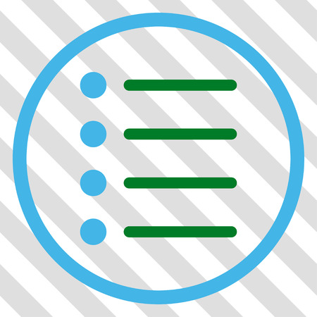 numerate: Items vector icon. Image style is a flat blue and green icon symbol on a hatched diagonal transparent background.