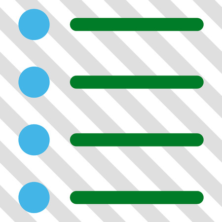 numerate: Items vector icon. Image style is a flat blue and green pictograph symbol on a hatched diagonal transparent background.