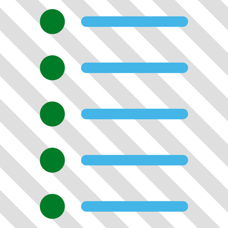 Items vector icon. Image style is a flat blue and green icon symbol on a hatched diagonal transparent background.