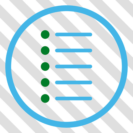 Items vector icon. Image style is a flat blue and green pictogram symbol on a hatched diagonal transparent background. Illustration