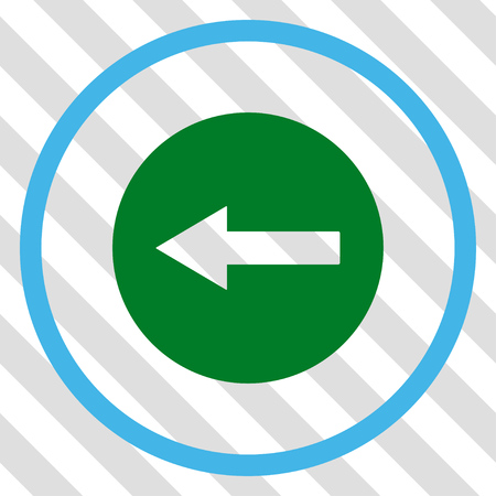 Left Rounded Arrow vector icon. Image style is a flat blue and green pictogram symbol on a hatched diagonal transparent background. Illustration