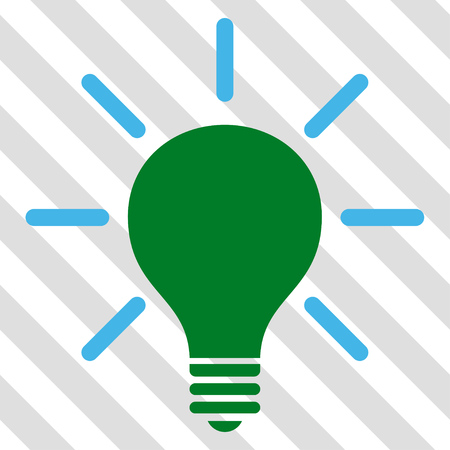 light emission: Light Bulb vector icon. Image style is a flat blue and green pictogram symbol on a hatched diagonal transparent background.