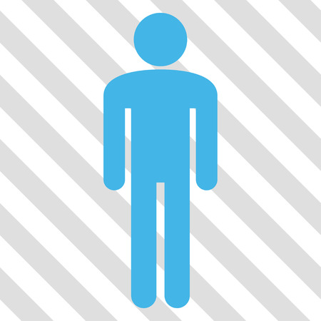 persona: Man vector icon. Image style is a flat blue and green iconic symbol on a hatched diagonal transparent background.