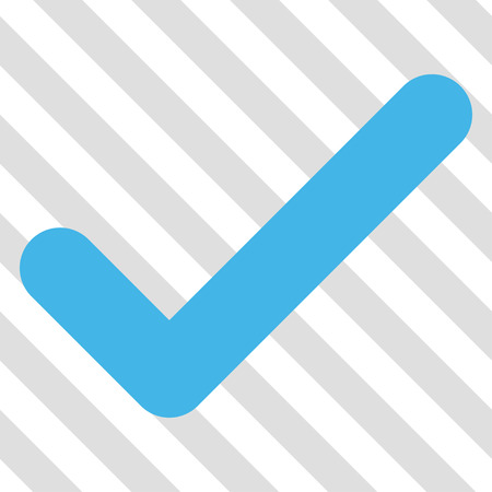 Ok vector icon. Image style is a flat blue and green iconic symbol on a hatched diagonal transparent background.