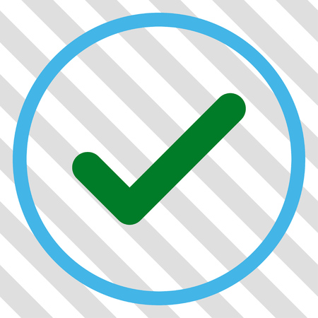 Ok vector icon. Image style is a flat blue and green pictogram symbol on a hatched diagonal transparent background. Illustration