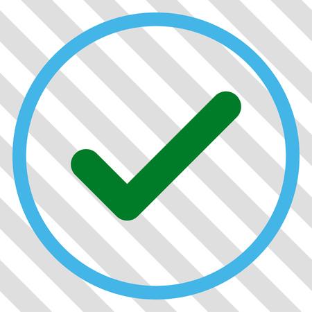 Ok vector icono. Estilo de imagen es un símbolo de pictograma plano azul y verde sobre un fondo transparente diagonal rayada. Ilustración de vector