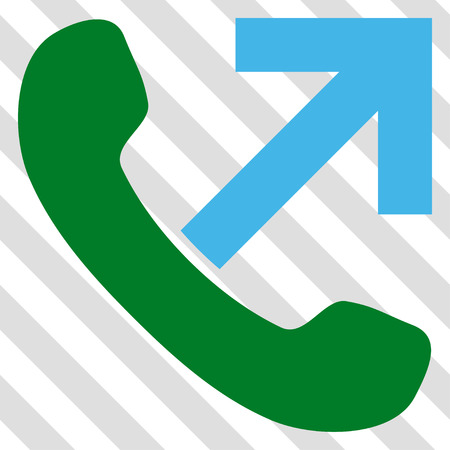 outgoing: Outgoing Call vector icon. Image style is a flat blue and green pictogram symbol on a hatched diagonal transparent background.