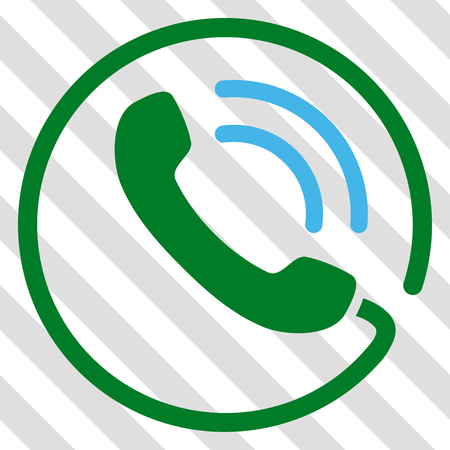 Phone Call vector icon. Image style is a flat blue and green pictograph symbol on a hatched diagonal transparent background. Illustration
