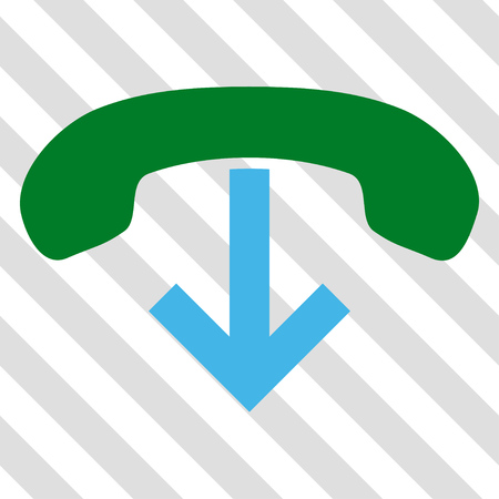 Phone Hang Up vector icon. Image style is a flat blue and green pictogram symbol on a hatched diagonal transparent background. Illustration