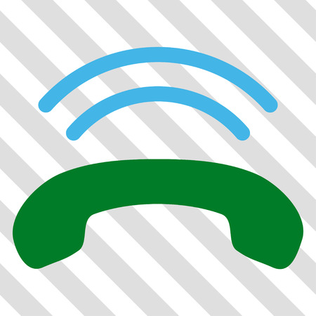 telephony: Phone Ring vector icon. Image style is a flat blue and green iconic symbol on a hatched diagonal transparent background. Illustration