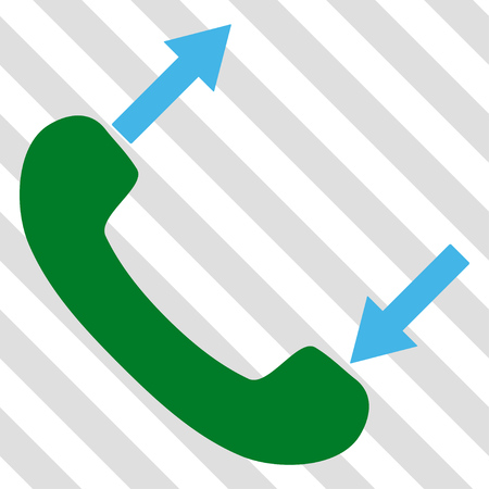 phone talking: Phone Talking vector icon. Image style is a flat blue and green iconic symbol on a hatched diagonal transparent background.