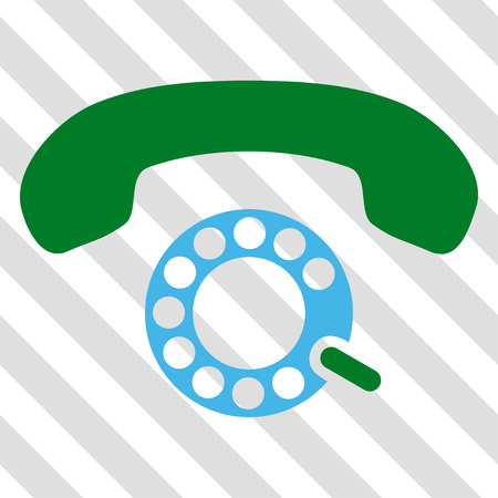 telephony: Pulse Dialing vector icon. Image style is a flat blue and green icon symbol on a hatched diagonal transparent background.