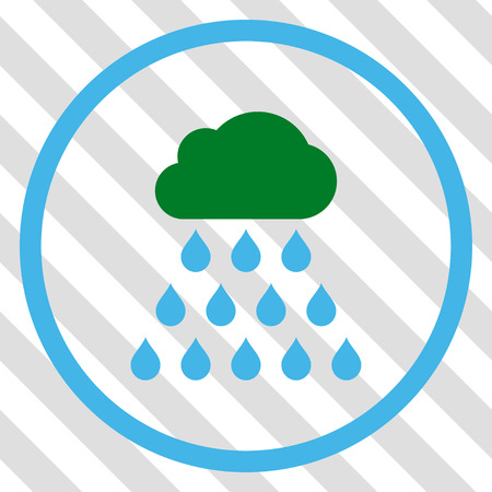 watery: Rain Cloud vector icon. Image style is a flat blue and green iconic symbol on a hatched diagonal transparent background.