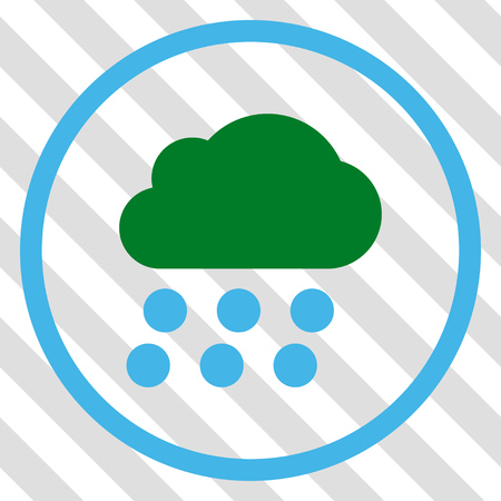 overcast: Rain Cloud vector icon. Image style is a flat blue and green pictogram symbol on a hatched diagonal transparent background. Illustration