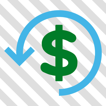moneyback: Refund vector icon. Image style is a flat blue and green icon symbol on a hatched diagonal transparent background. Illustration