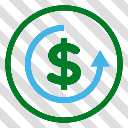 moneyback: Refund vector icon. Image style is a flat blue and green pictogram symbol on a hatched diagonal transparent background.