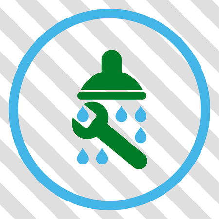 leaking: Shower Plumbing vector icon. Image style is a flat blue and green pictograph symbol on a hatched diagonal transparent background. Illustration