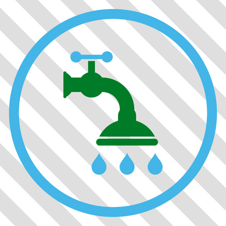 sterilize: Shower Tap vector icon. Image style is a flat blue and green pictograph symbol on a hatched diagonal transparent background.