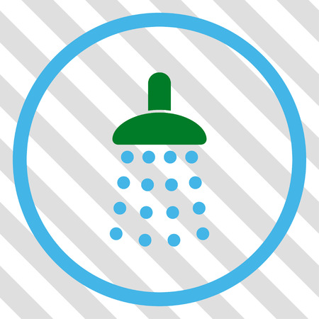 sterilize: Shower vector icon. Image style is a flat blue and green pictograph symbol on a hatched diagonal transparent background. Illustration