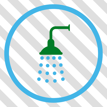 sanitize: Shower vector icon. Image style is a flat blue and green icon symbol on a hatched diagonal transparent background.
