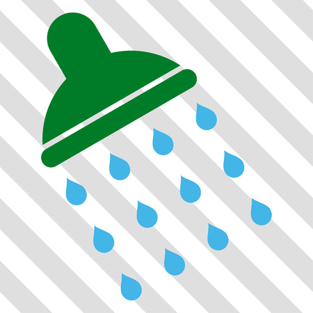 pure element: Shower vector icon. Image style is a flat blue and green pictograph symbol on a hatched diagonal transparent background. Illustration