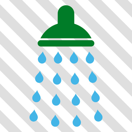 antiseptic: Shower vector icon. Image style is a flat blue and green icon symbol on a hatched diagonal transparent background.