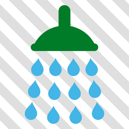 Shower vector icon. Image style is a flat blue and green pictogram symbol on a hatched diagonal transparent background. Illustration