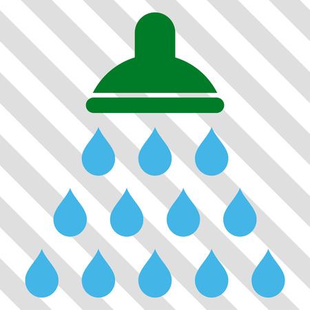 sterilize: Shower vector icon. Image style is a flat blue and green icon symbol on a hatched diagonal transparent background.