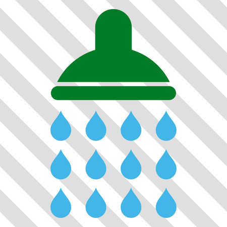 Shower vector icon. Image style is a flat blue and green icon symbol on a hatched diagonal transparent background.