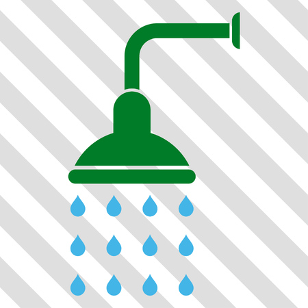 Shower vector icon. Image style is a flat blue and green iconic symbol on a hatched diagonal transparent background. Illustration