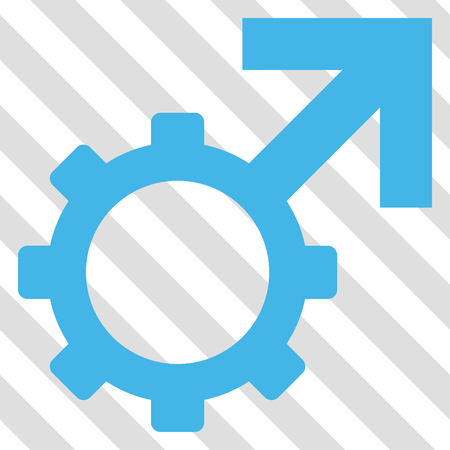 erection: Technological Potence vector icon. Image style is a flat blue and green pictograph symbol on a hatched diagonal transparent background. Illustration