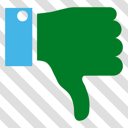 Thumb Down vector icon. Image style is a flat blue and green icon symbol on a hatched diagonal transparent background.