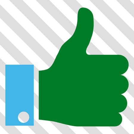 Thumb Up vector icon. Image style is a flat blue and green iconic symbol on a hatched diagonal transparent background. Illustration