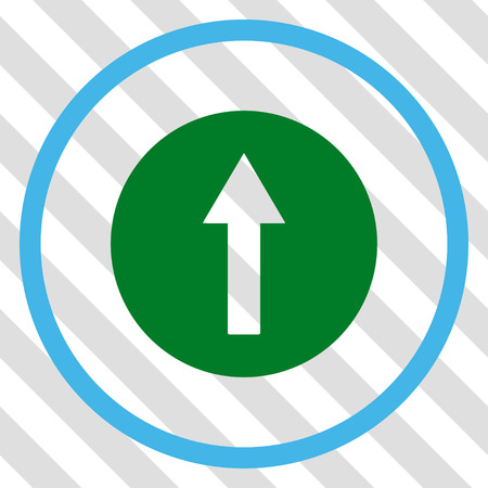 Up Rounded Arrow vector icon. Image style is a flat blue and green pictogram symbol on a hatched diagonal transparent background. Illustration