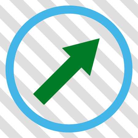 upright: Up-Right Rounded Arrow vector icon. Image style is a flat blue and green icon symbol on a hatched diagonal transparent background.