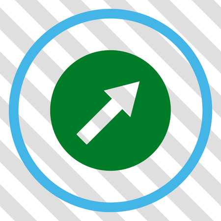 upright: Up-Right Rounded Arrow vector icon. Image style is a flat blue and green pictograph symbol on a hatched diagonal transparent background. Illustration