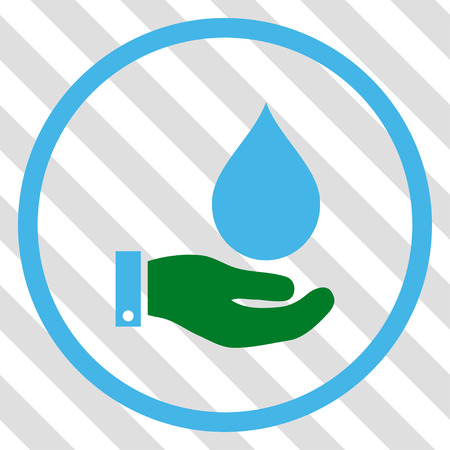 Water Service vector icon. Image style is a flat blue and green pictograph symbol on a hatched diagonal transparent background.