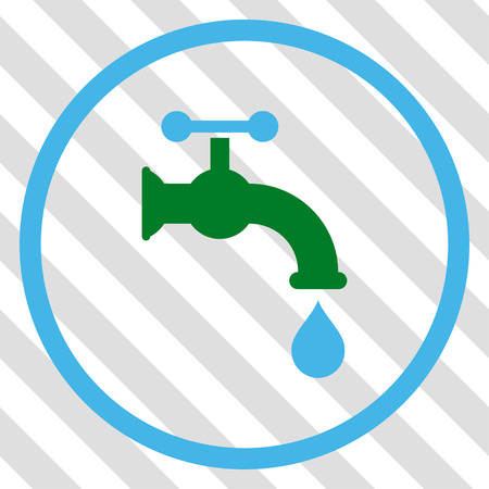 Water Tap vector icon. Image style is a flat blue and green pictograph symbol on a hatched diagonal transparent background. Illustration