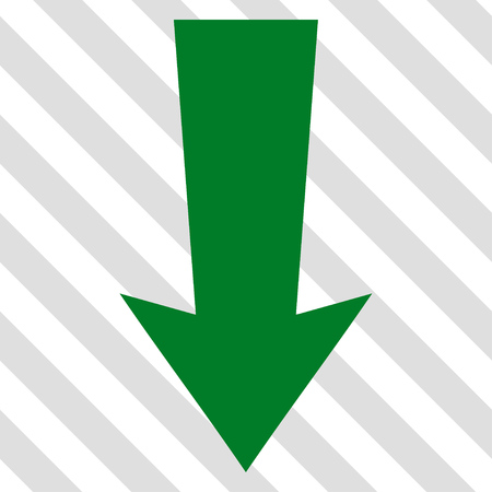 green arrow: Arrow Down vector icon. Image style is a flat green pictogram symbol on a hatched diagonal transparent background.