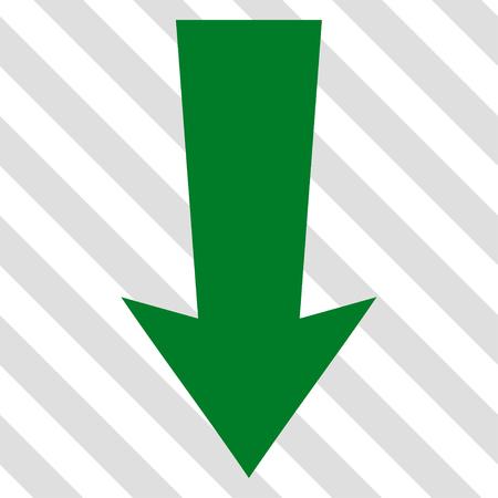 Flecha hacia abajo del icono del vector. estilo de la imagen es un símbolo pictograma plana de color verde sobre un fondo transparente diagonal rayada. Foto de archivo - 63804044